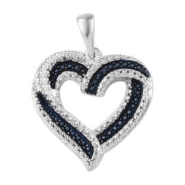 Blue and White Diamond (Rnd) Heart Pendant in Blue and Platinum Overlay Sterling Silver