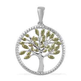 Diamond Tree of Life Circle Pendant in Platinum and Green Plated Sterling Silver