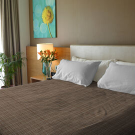 Close Out Deal- 100% Cotton Beige and Multi Colour Bed Cover (Size 250x230 Cm)