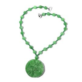Extremely Rare Hand Carved Green Jade Necklace (Size 18) in Rhodium Overlay Sterling Silver 584.000 Ct