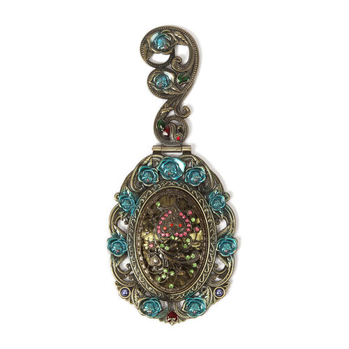 Multi Colour Enameled Flower and Heart Pattern Foldable Compact Mirror in Gold Tone with Simulated Purple Pearl, Multi Colour Austrian Crystal and Resin
