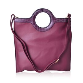 Dark Fuchsia Colour Tote Bag with Circular Handle and Adjustable and Removable Shoulder Strap (Size 33X26 Cm)