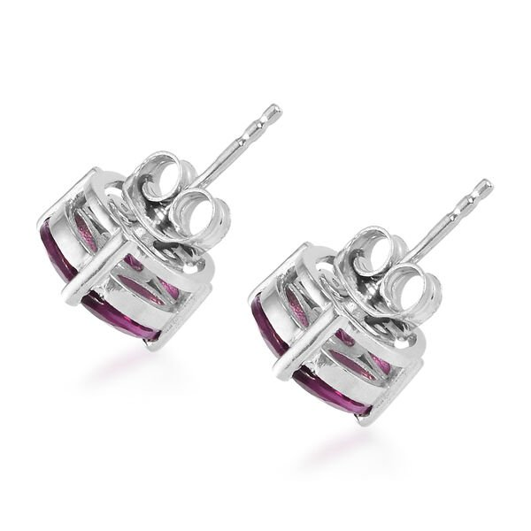 Purple Garnet Stud Earrings (with Push Back) in Platinum Overlay Sterling Silver 3.75 Ct.