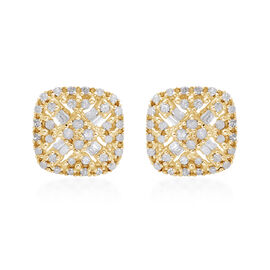 0.50 Carat Diamond Cluster Stud Earrings in Gold Plated Sterling Silver