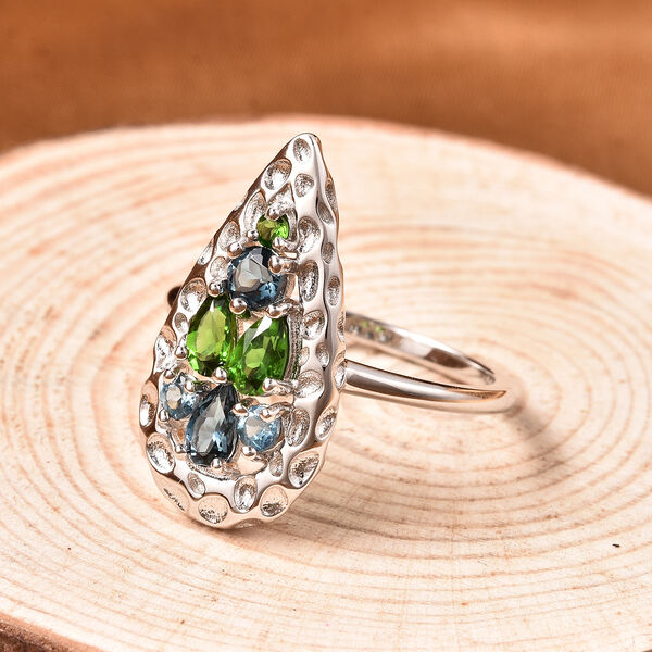 RACHEL GALLEY Misto Collection - AA London Blue Topaz and Russian Diopside Ring in Rhodium Overlay Sterling Silver