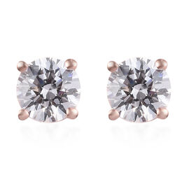 J Francis Swarovski Zirconia Rose Gold Overlay Sterling Silver Stud Earrings (with Push Back) 1.00 C