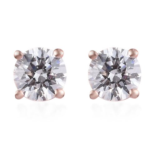 J Francis Swarovski Zirconia Rose Gold Overlay Sterling Silver Stud Earrings (with Push Back) 2.00 C