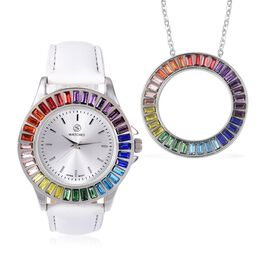 2 Piece Set - STRADA Japanese Movement Water Resistant Multi Colour Simulated Gemstone Studded Watch