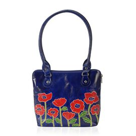 100% Genuine Leather Handmade Poppy Flower Printed Shoulder Bag with Zip Closure (Size 30.5x6.5x23 C