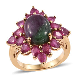 8.25 Ct Ruby Zoisite and African Ruby Floral Ring in Gold Plated Sterling Silver 5 Grams