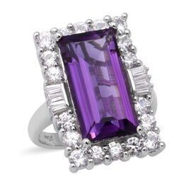 AA Lusaka Amethyst and Natural Cambodian Zircon Ring in Rhodium Overlay Sterling Silver 10.58 Ct, Si
