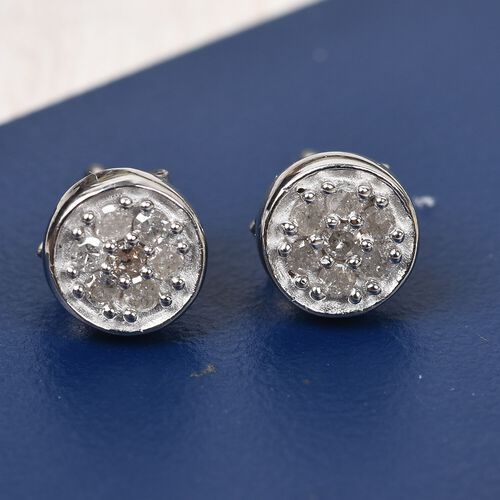 Diamond Stud Earrings in Platinum Overlay Sterling Silver 0.25 Ct.