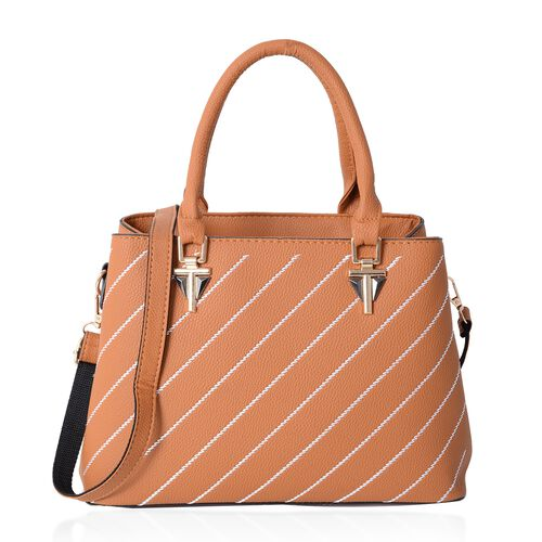 Mustard Colour Stripe Pattern Tote Bag with External Zipper Pocket and Removable Shoulder Strap (Siz