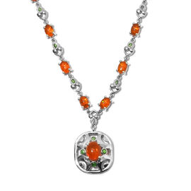 Orange Ethiopian Opal Enamelled Necklace (Size 18) in Platinum Overlay Sterling Silver 6.50 Ct, Silv