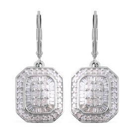 1 Carat Diamond Cluster Drop Earrings in Platinum Plated Sterling Silver 6.80 Grams