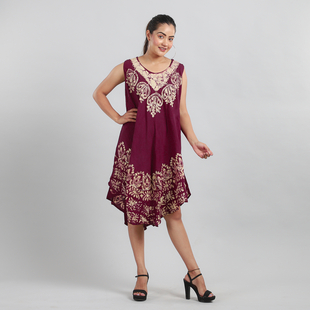100% Viscose Crepe Umbrella Dress Embellished with Batik and Embroidery (Size 120x105 Cm) - Burgundy