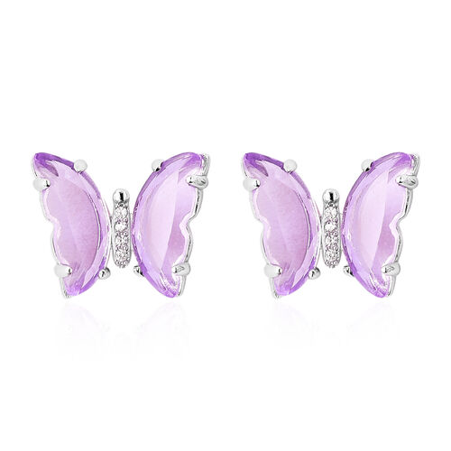 Simulated Amethyst and Simulated Diamond Butterfly Earrings (with Push Back) in Rhodium Overlay Ster