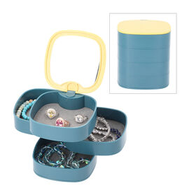 360 Degree Rotatable Four Layer Jewellery Organiser with Mirror (Size 11x12cm) - Blue and Mustard