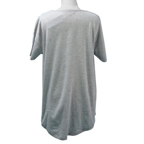 SUGARCRISP Cotton Short Sleeved TShirt with Flower Detail (Size XL) - Grey Melange
