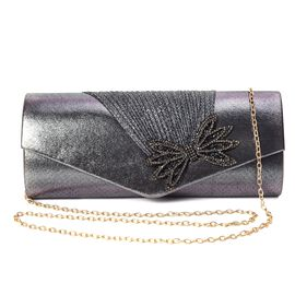 Crystal Bowknot Design Clutch with Chain Strap and Magnetic Flap Closure (Size 26x11x5.5 Cm) - Silve