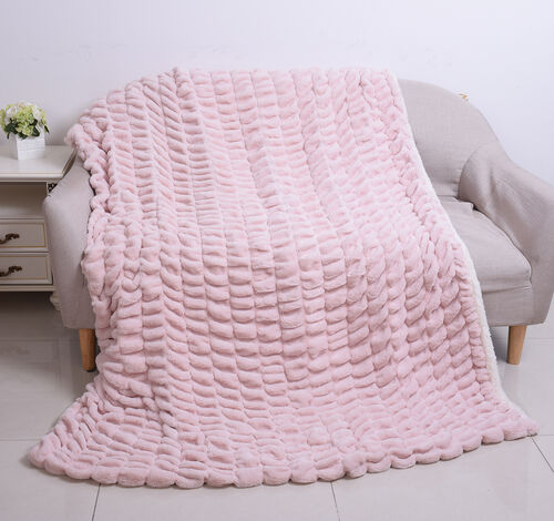 Supersoft High Quality Faux Fur Sherpa Ruched Blanket (150x200cm) - Light Peach Colour