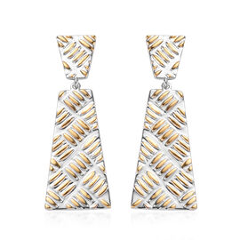 Platinum and Yellow Gold Overlay Sterling Silver Dangle Earrings (with Push Back), Silver wt. 11.69