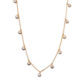 J Francis 14K Gold Overlay Sterling Silver Station Necklace (Size 18) made with SWAROVSKI ZIRCONIA 5
