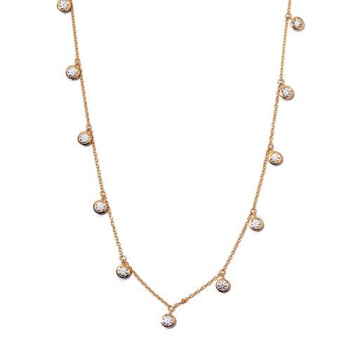 J Francis 14K Gold Overlay Sterling Silver Station Necklace (Size 18) made with SWAROVSKI ZIRCONIA 5