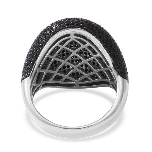 Cocktail Collection- Pave Set Natural Boi Ploi Black Spinel (Rnd) Cluster Ring in Rhodium Overlay Sterling Silver 6.410 Ct, Silver wt 8.40 Gms, Number of Gemstone 641