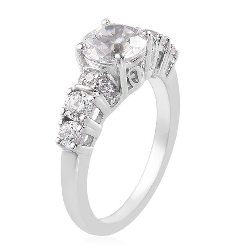 J Francis - Platinum Overlay Sterling Silver Ring Made with SWAROVSKI ZIRCONIA 1.81 Ct.