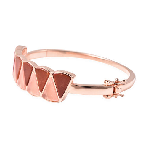 Isabella Liu Dance of Ginkgo - Red Jade, Rose Quartz Bangle (Size 7.5) in Rose Gold Overlay Sterling Silver 25.79 Ct, Silver wt. 36.54 Gms