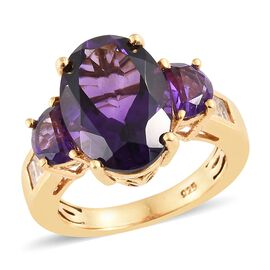 WEBEX- Lusaka Amethyst (Ovl), White Topaz Ring in 14K Gold Overlay Sterling Silver 6.500 Ct