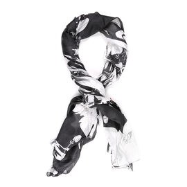 LA MAREY Pure 100% Mulberry Silk Caricature Pattern Scarf  (Size 180x110cm) - Black and White