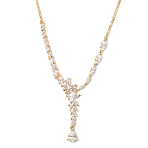 J Francis - 14K Gold Overlay Sterling Silver (Pear) Necklace (Size 20) Made with SWAROVSKI ZIRCONIA