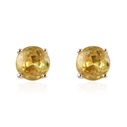 2 Carat AA Sava Sphene Solitaire Stud Earrings in 9K Gold