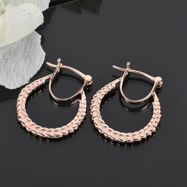 Mp Rose Gold Overlay Sterling Silver Olive Leaf Hoop Earrings (with Clasp), Silver wt 3.62 Gms