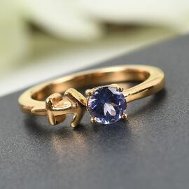 AA Tanzanite Zodiac-Sagittarius Ring in 14K Gold Overlay Sterling Silver 0.50 Ct.