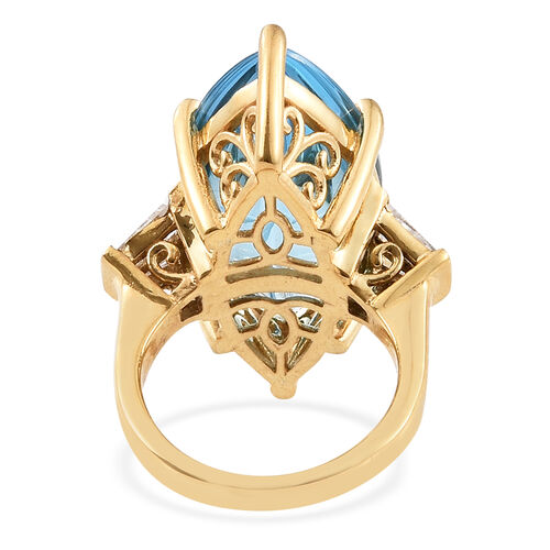 TJC Launch - Marambaia Topaz (Mrq), Natural Cambodian Zircon Ring in 14K Gold Overlay Sterling Silver 25.000 Ct. Silver wt 9.20 Gms.