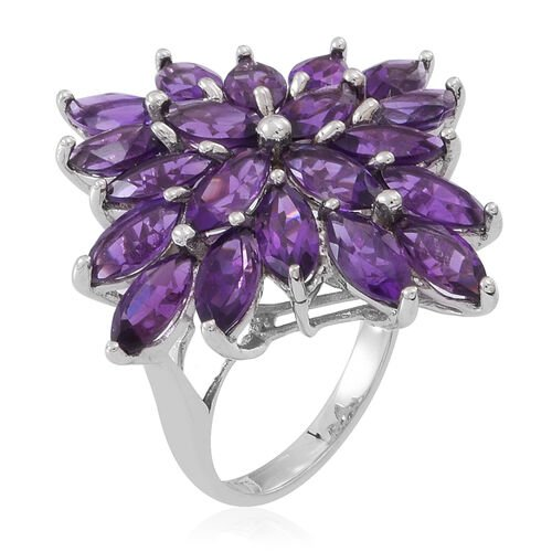 Natural Uruguay Amethyst (Mrq) Cluster Ring in Rhodium Plated Sterling Silver 10.000 Ct.