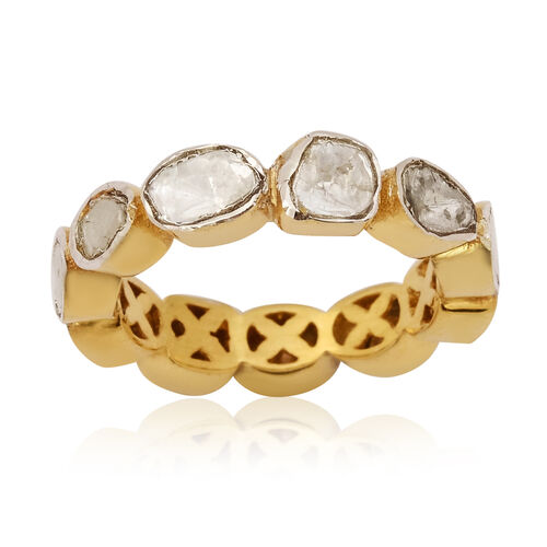 Close Out Deal Polki Diamond Ring in Gold Overlay Sterling Silver 1.40 Ct.