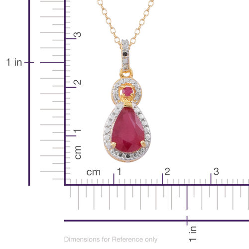 Limited Edition- African Ruby (Pear), Burmese Ruby Pendant with Chain in 14K Gold Overlay Sterling Silver 2.600 Ct.