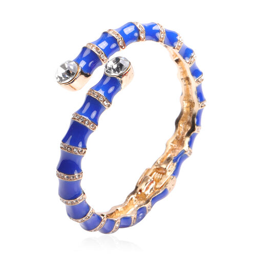White Austrian Crystal, Blue Enamelled Cuff Bangle (Size 7)