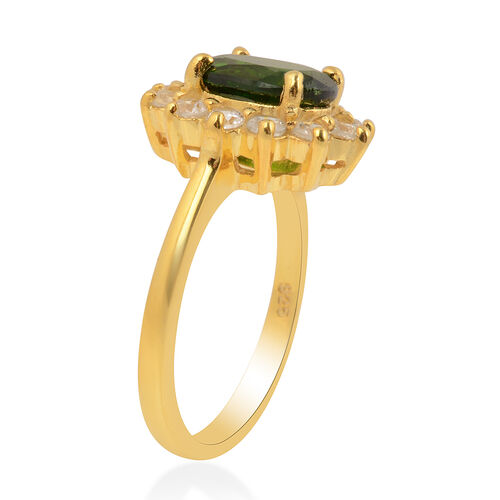 Rare Size Russian Diopside (OV 9X7 mm) and Natural Cambodian Zircon Ring in Yellow Gold Overlay Sterling Silver 2.81 Ct.