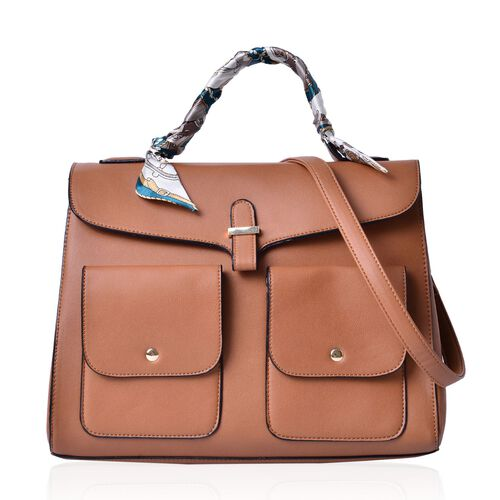 Chocolate Colour Large Tote Bag with External Pocket and Adjustable and Rmovable Shoulder Strap with Multi Colour Scarf (Size 35x28x16 Cm, 87x4 Cm)