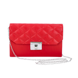 Red Colour Crossbody Bag with Clasp Lock (Size 22x6.5x14 Cm)