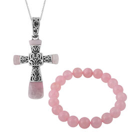 2 Piece Set - Rose Quartz Cross Pendant With Chain (Size 20) and Bracelet (Size 7.5 Stretchable) 132