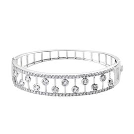 J Francis Platinum Overlay Sterling Silver (Rnd) Bangle (Size 7.5)  Made with SWAROVSKI ZIRCONIA, Si