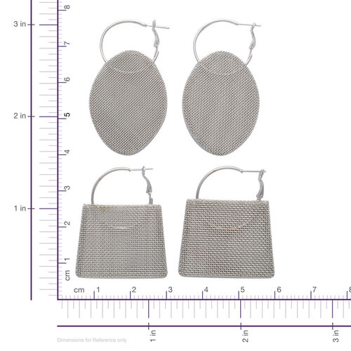 2 Piece Set - Mesh Hoop Earrings in Silver Tone