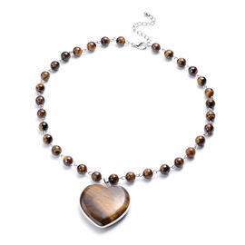 Yellow Tigers Eye Heart Shaped Pendant in Beaded Necklace (Size 20.5)