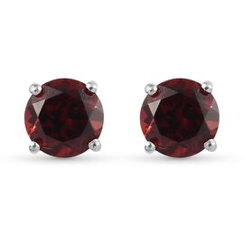 Mozambique Garnet Stud Earrings (with Push Back) in Platinum Overlay Sterling Silver 2.00 Ct.